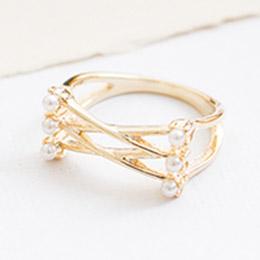 經典韓劇金屬交叉綴珍珠設計款戒指