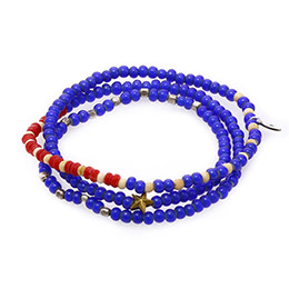 美國國旗多圈式串珠手鍊-藍色系