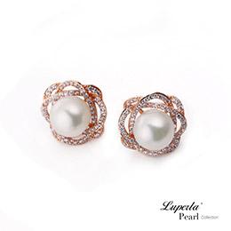 花之獻禮鑲鑽珍珠耳環