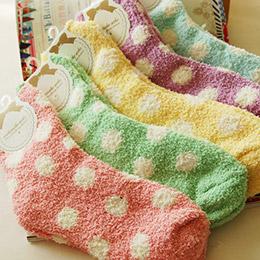 日系圓點馬卡龍毛巾襪