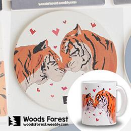 木雕森林咖啡館 - 戀戀馬克杯(4件組)