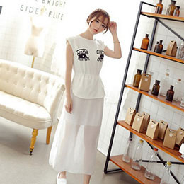 黑白配色雪紡連身洋裝