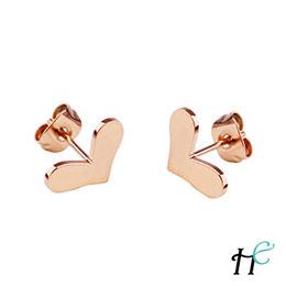 愛心鈦鋼玫瑰金時尚耳環