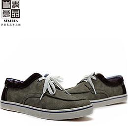 嚴選麂皮拼接莫卡帆布鞋
