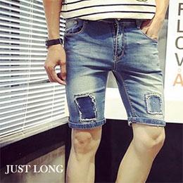 拼布設計男牛仔短褲