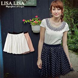 LISA.LISA 【ZBB3204】 水玉點點網紗公主短裙- -二色