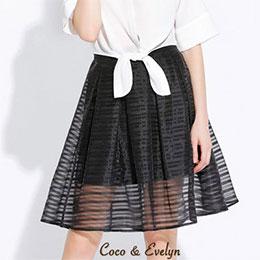 半秀視網紗條紋短裙