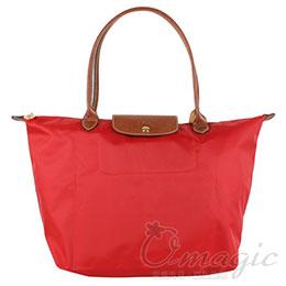 Longchamp 長提把大型折疊水餃包/紅