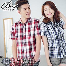 韓版休閒經典時尚格紋短袖襯衫