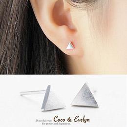 925純銀三角幾何耳環