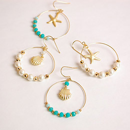 浪漫海洋貝殼海星穿式耳環