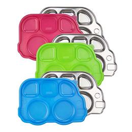美國 Innobaby不鏽鋼巴士造型餐盤(3色)-附餐盤蓋
