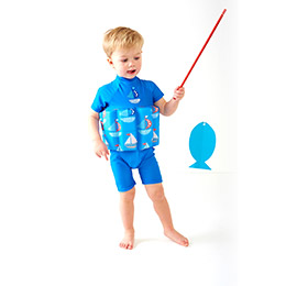 FloatSuit 兒童浮力泳衣 - 紅白條紋