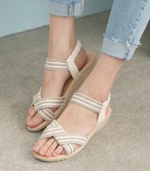 簡約條紋楔型涼鞋