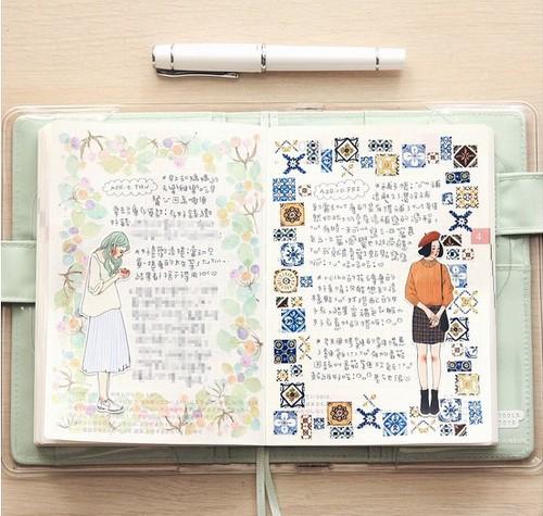 wenyea的手帐则记录她旅行的风景,食物跟小故事,水彩,色铅笔都难不倒
