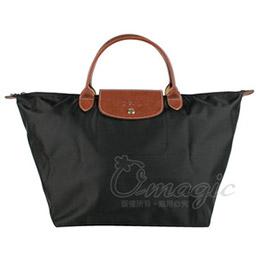 Longchamp中型短提把摺疊水餃包/黑