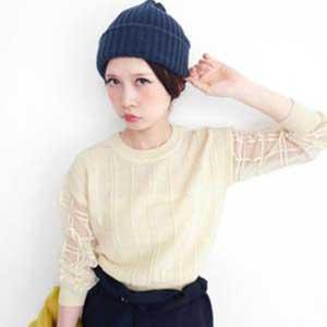透膚格紋針織衫