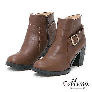時尚俐落感粗跟踝靴