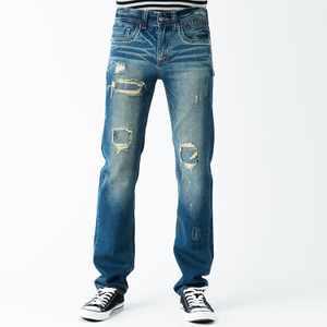 合身直筒破壞刷色牛仔褲