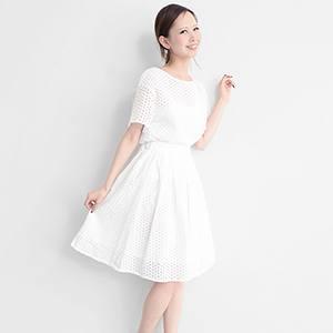 鏤空刺繡蕾絲喇叭裙