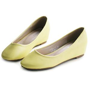 羊紋皮革馬卡龍內增高娃娃鞋