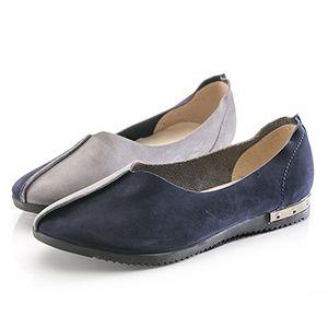 小羊皮拼接色舒適包鞋