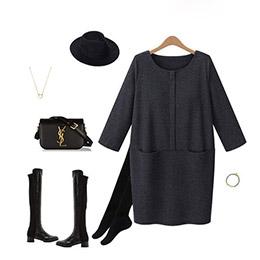 超顯瘦純色針織連身裙(XL-5L)
