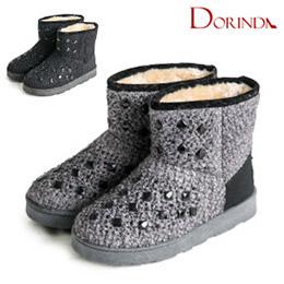 晶鑽寶石厚底鋪毛雪靴