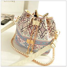 時尚華麗圖紋珍珠鍊條束口水桶包/側背包