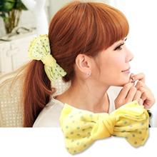 輕甜鵝黃色水玉點點蝴蝶結 髮夾/香蕉夾