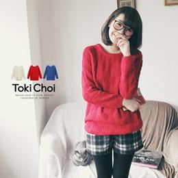 麻花織紋亮色針織毛衣