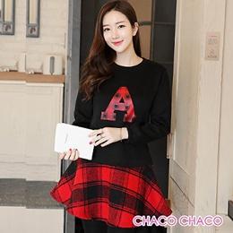 韓製併接格紋裙擺刷毛絨洋裝