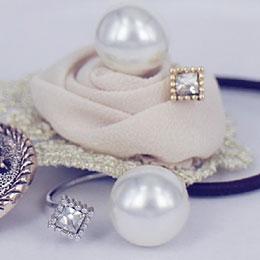 正韓女神款大珍珠小方鑽戒指