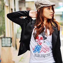 美國風圓領長版棉T長袖上衣