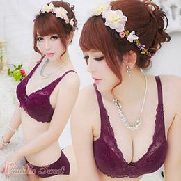美豔性感透色蕾絲薄墊全罩內衣