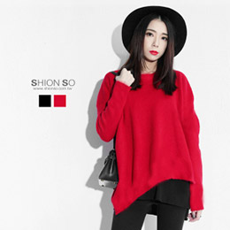 下擺不規則長版毛織衣(紅/黑)40-50號