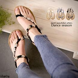 波西米亞金屬花朵透氣平底涼鞋
