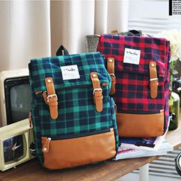 韓國Mink學院限定百搭經典格紋翻蓋後背包