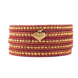 愛心鍍金銀塊珠暗紅色皮繩手環