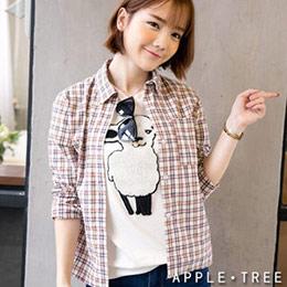 單邊口袋棉質格紋襯衫