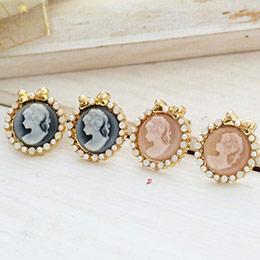 古董洋風 女神浮綴蛋白石雕&珍珠耳環