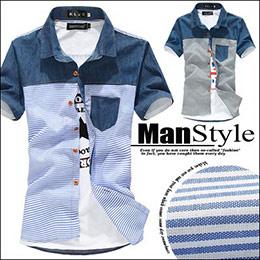 牛仔條紋拼接顯瘦美式短袖襯衫