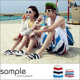紅白藍三色寬橫紋情侶沙灘褲