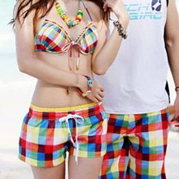 彩色方格情侶沙灘短褲