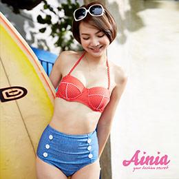 韓系高腰兩件式比基尼鋼圈泳裝