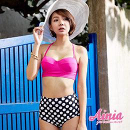 桃紅峇里 韓系高腰兩件式比基尼鋼圈泳裝