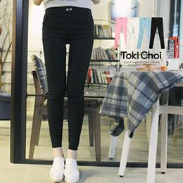 雙釦飾素色斜紋彈力窄管褲
