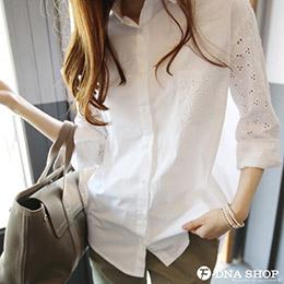 緹花縷空蕾絲口袋長版襯衫