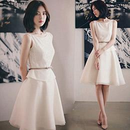 韓國空運蕾絲歐根紗拼接洋裝