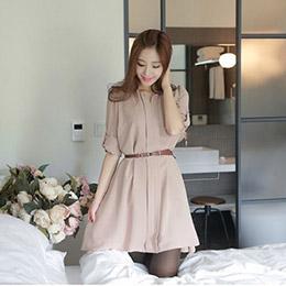 韓版V領氣質小洋裝(附腰帶)